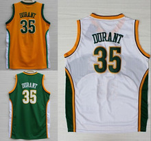 2016 Green White Orange Color throwback Basketball Jersey Embroidery Logos #35 Kevin Durant jersey