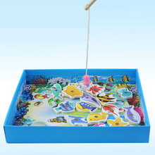 Free shipping Kids marine biological cognition fishing game, marine biological cognition fun fishing game child's gift(China)