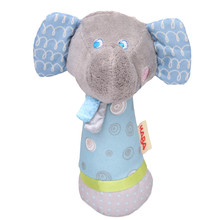 2016 Hot Newborn Toys Rattles Elephant Model Handbells Plush Toy Doll Baby Rattles Cute Gift JK872929