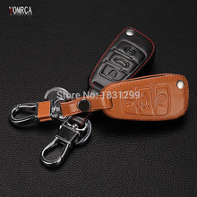 Hot sale classic design  100% leather car Key Cover Fit for Audi A3 S3 S4 S5 audi TT TTS Q2 Etc 3 buttons Leather With Buckle