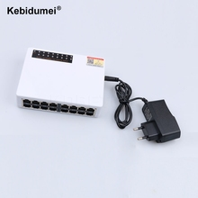 kebidumei 16 Ports Fast Ethernet LAN RJ45 Vlan Network Switch Switcher Hub 10/100Mbps Desktop PC with EU/US Adapter(China)