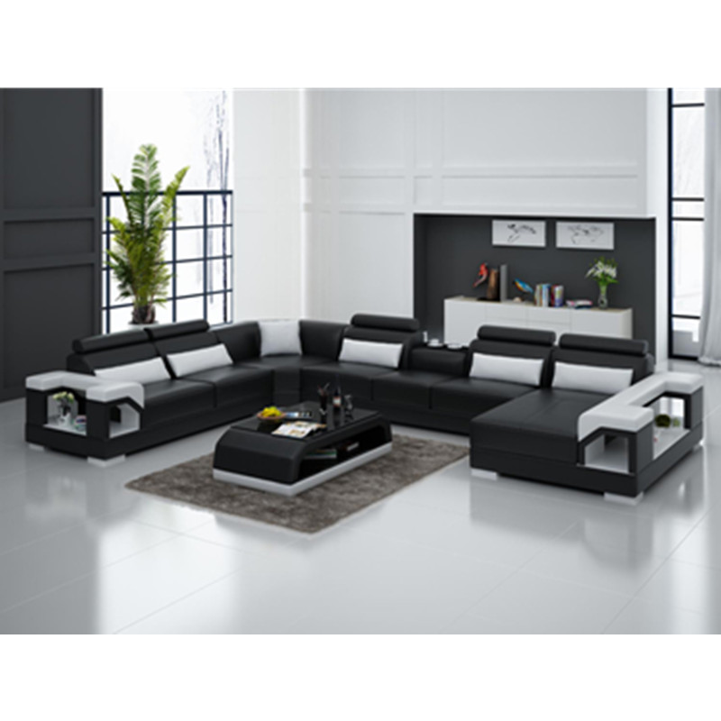 Living Room Furniture Black U-shape Living Room Furniture Sectional Sofa Set G8007 Fancy Colours