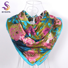[BYSIFA] Winter Wholesale Silk Scarves New Accessories Ladies Green Cheap Head Scarves China 90*90cm Floral Hijab Scarves Wraps(China)