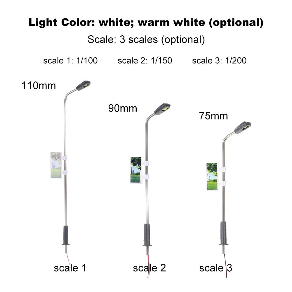 10x Model Street Lights Lamp Post Leds Lamp Train Park Scenery LAYOUT 1:200