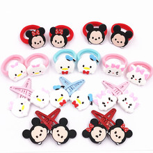 New 4PCS Lovely Cartoon Hairpins Girls Princess Mickey Minnie Hair Clip+Hair Bands Children Barrettes Hair Accessories Kids Gift