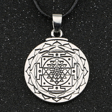 Sri Yantra Necklace Sacred Geometry Buddhist Mandala Amulet Symbol Silver Color Pendant Fashion Hot Yoga Jewelry Men Wholesale(China)