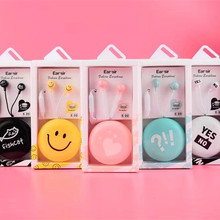 Candy Color Smiling Face Cartoon In-Ear Stereo Music Earphone with Microphone Colorful Earbud For cell Phone mp3 player with Box(China)