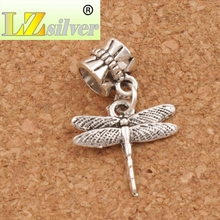 Thin Airfoil Flying Dragonfly Big Hole Beads 17x26mm 20pcs Tibetan Silver Dangle Fit European Charm Bracelets Jewelry DIY B968