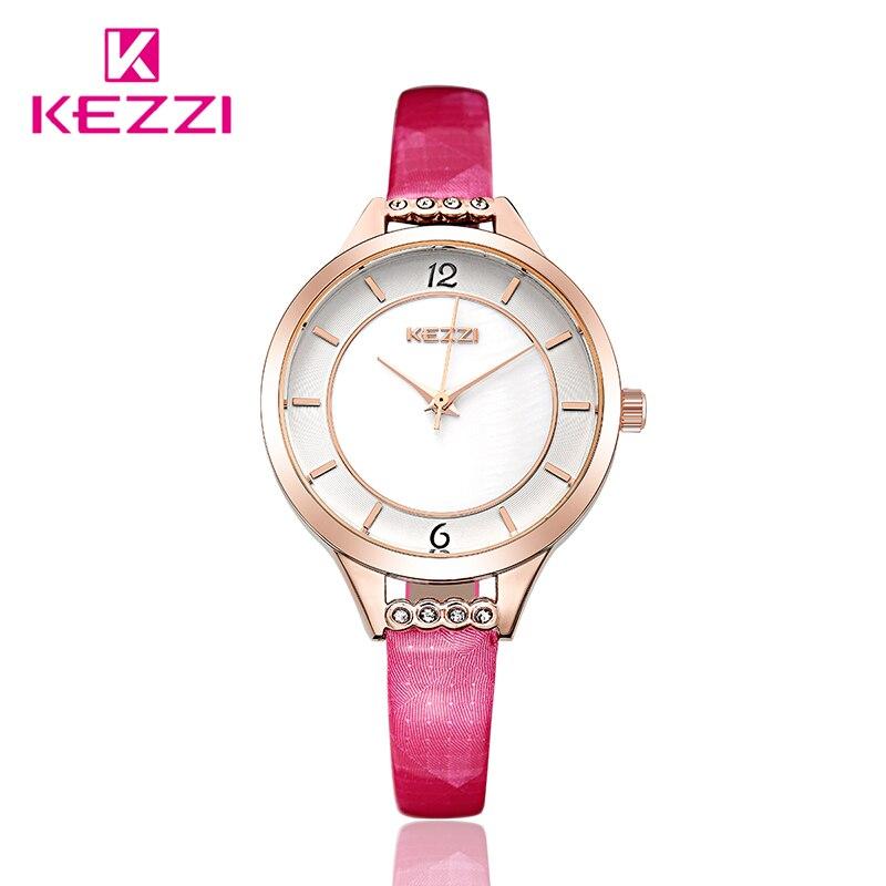 2017 High Quality  KEZZI Brand wristWatch Women Rhinestone Waterproof colck Leather Strap Quartz Watch horloges vrouwen<br><br>Aliexpress