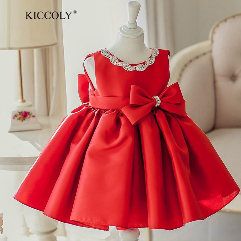 2017 Summer New Baby Girl Dress Red 6M-2T  Baby Girls Birthday Dresses Beaded Big Bow Vestido Infant baptism Christening dress<br>