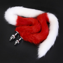 Buy 80cm Long Red White Fox's Tail Dog Tail Butt Plug Sex Toys anal plug sex couple games 3 size choose