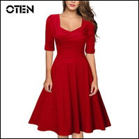 Black-Red-women-clothing-sexy-Vintage-Retro-1950s-Style-half-sleeve-A-Line-robe-Ladies-evening