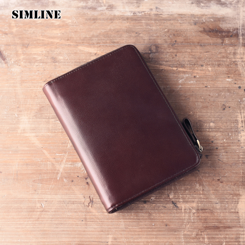 SIMLINE Vintage Handmade Genuine Leather Cowhide Cover A6 Loose Leaf Travelers Notebook Diary Passport Holder Cover Wallet Men<br>