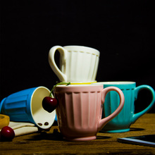Five Optional Colors Tea Cup Coffee Mug Cute Candy Colored Lovers Creative Mugs Small Colored Ceramic Breakfast Milk Cup 250ml