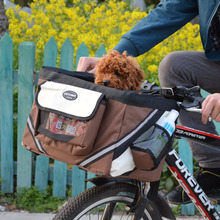 Portable Pet dog bicycle carrier bag basket Puppy Dog Cat Travel bike carrier Seat bag for small dog Products Travel Accessories(China)