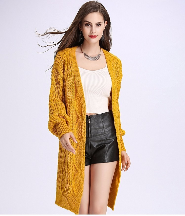 H.SA 2017 Women Long Cardigans Autumn Winter Open Stitch Poncho Knitting Sweater Cardigans V neck Oversized Cardigan Jacket Coat 18