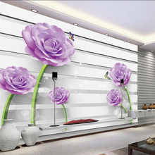 beibehang Custom senior wallpaper 3d purple roses butterfly TV backdrop wall papel de parede 3d wallpaper roll photo wall paper