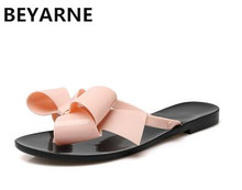 BEYARNE new Fashion woman jelly beach sandals lady flip flops flats rain shoes women summer travel Slippers slides 36-41 pink 39(China)