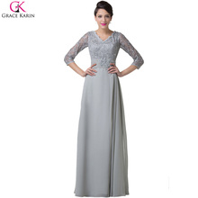 Grace Karin Grey Long Sleeve Evening Dress 2017 Lace Appliques Beads V Neck Mother of the Bride Dresses Formal Party Gown