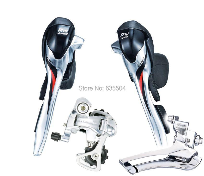Silver Shimano Compatible Short Cage microSHIFT R10 Rear Derailleur 10-Speed