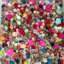 300pcs mixed colors small rose flower mini handmade satin rose head wedding scrapbooking decoration sewing supplier accessories