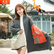 Meiche Korean New Scarf Women Imitation Cashmere Scarves Luxury Brand Shawl Cartoon Coat Poncho Autumn And Winter Scarfs(China)