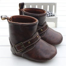 Infant Toddler Western Cowboy Boots Baby Boy Girl Chocolate/Brown PU Booties Boots Shoes Hook&loop On The Back Chaussure Garcon