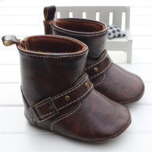 Infant Toddler Western Cowboy Boots Baby Boy Girl Chocolate/Brown PU Booties Boots Shoes Hook&loop On The Back Chaussure Garcon(China)
