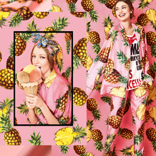Couture fashion heavy chiffon Fabric,faux silk satin,pink,fruit prints,pineapple,smooth,Sewing, Dress,home Dec,craft by the yard