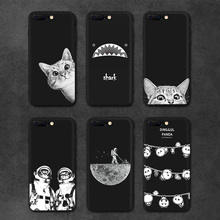 IIOZO Case For iphone 6 6S plus Cute Cat Space Moon Cat Man Pandas Shark Animal Phone Protector Cover Shell for iphone 6 Case(China)