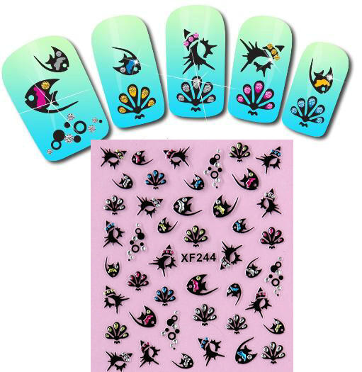 Nail stickers fish black and white paste cute animals butterfly flower stickers nail tools diy jewelry cartoon nail stickers<br><br>Aliexpress