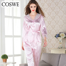 COSWE XXL Pajama Sets Lace Sexy Womens Pajama Spring V-Neck Pajamas For Women Single-breasted Button Female Homewear HA1603