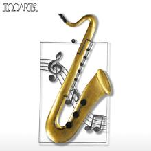 Tooarts Modern Wall Sculpture Saxophone Hanging Ornament Home Decor Wall Hangings Decor Music Instrument Craft Gift(China)