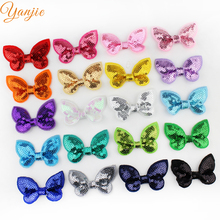 "New Arrival 20colors 100pcs/lot Boutique Knot Applique 2"" Sequin Hair Bow Girl Beauty Bows Hair Accessories Headwear Hair Clip"
