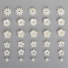 New 50-100PCS Imitation Plastic ABS Pearl Beads Ivory Flower Beads for Scrapbook DIY Jewelry Handmade Craft Making(China)