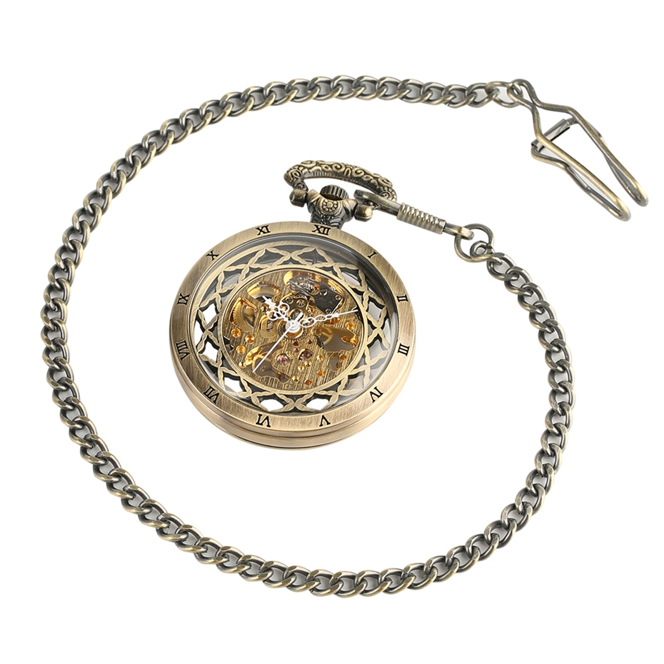 Top Gifts Luxury Transparent Skeleton Hollow Mechanical Watch Retro Hand Winding Analog Pocket Watch for Men Women Antique Style (1)