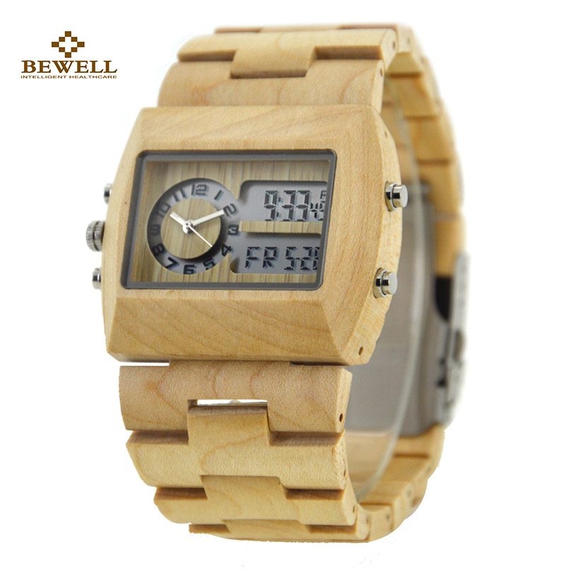 BEWELL Square Business Watches Wood Men Luxury Brand Wristwatch with Double Movement Luminous Display for Your Friend Gift 021A<br>