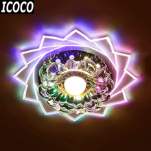 ICOCO Romantic Crystal Ceiling Lights Led Round Aisle Lighting Entrance Hallway Sconce Lights Lamp Flush Mounted Lights Sale