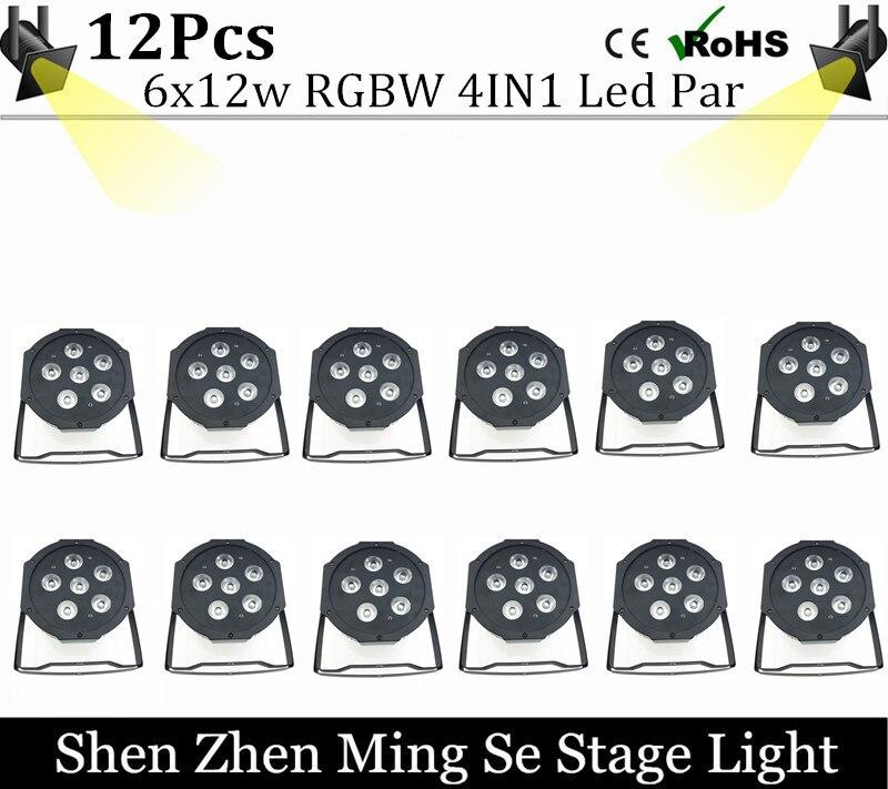 12units 6pcs 12w lamp beads 6x12W led Par lights RGBW 4in1 flat par led dmx512 disco lights professional stage dj equipment<br>