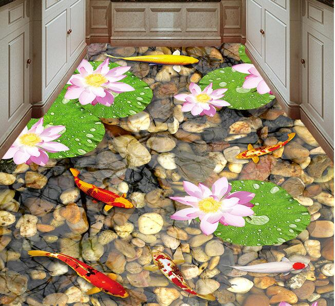 3d flooring pvc wallpaper custom waterproof self adhesion water floating flower stone 3d wall murals wallpaper for living room<br>