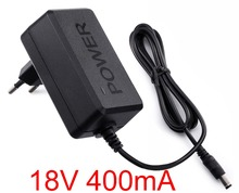 1PCS 18V 400mA High quality IC solutions  AC 100V-240V Converter Adapter DC 18V 0.4A Power Supply EU Plug 5.5mm x 2.1-2.5mm