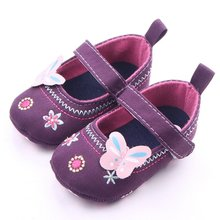 Baby Girls Denim Shoes Toddler Butterfly Embroidered Princess Shoes First Walkers Shoes 2 Colors