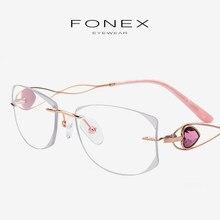 45a5814290 B Titanium Rimless Eyeglasses Frame Women Luxury Diamond Trimming Cut  Prescription Optical Frame Glasses Woman Korea Eyewear 923