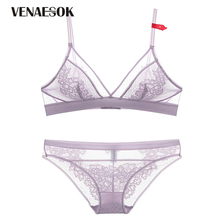 Buy Seamless Brassiere Ultrathin See Bra Panties Sets Sexy Lingerie Set Purple Lace Transparent Underwear Set Women Bra