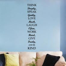 Think Speak Love Laugh Be Kind inspiring quotes Wall Stickers Living Room Bedroom Vinyl Mural Decal Art Home decor Poster(China)