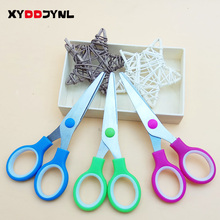 XYDDJYNL Different Colors 3 Pcs/Lot Cute School Stationery Student Scissors Paper Cutting for Kids Craft Cutter DIY Scrapbook(China)