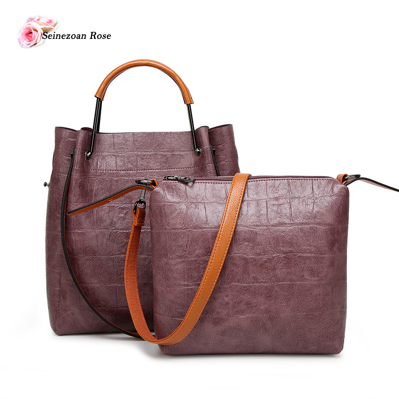 2017 Women Stone PU Leather Bucket Totes Handbags Composite Bags Ladies Leather Bags Women Top-handle Messenger Bag mujer bolsas<br><br>Aliexpress