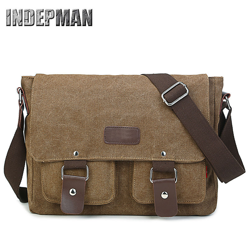 Hot 2016 Vintage Canvas Bag for Men Solid Cover Zipper Retro Messenger Bag Large Capacity Durable Casual Schoolbag for Teenagers<br><br>Aliexpress