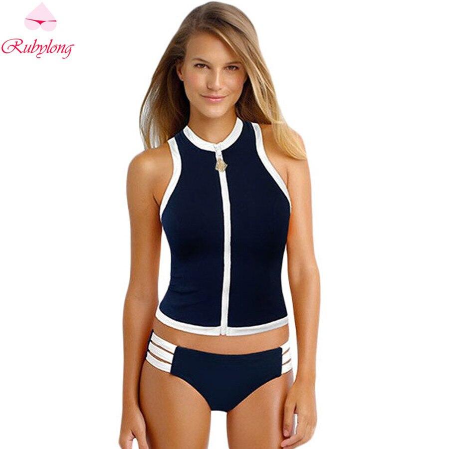 Newest Zipper Sport Bikini Swimsuit Hot Women High Neck Bikini Set Swimwear 2017 Girl Bandage Padded Low Waist Biquini Beachwear<br><br>Aliexpress