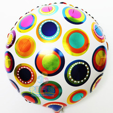 2015 hot 18inch 10pcs/lot spot printed foil balloon dot helium globos for birthday/KTV/Bar decoration circle light ballon